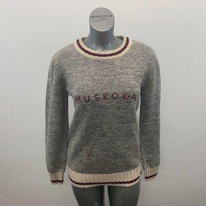 Muskoka Sweater Women's Size XL Salt Pepper & Burg